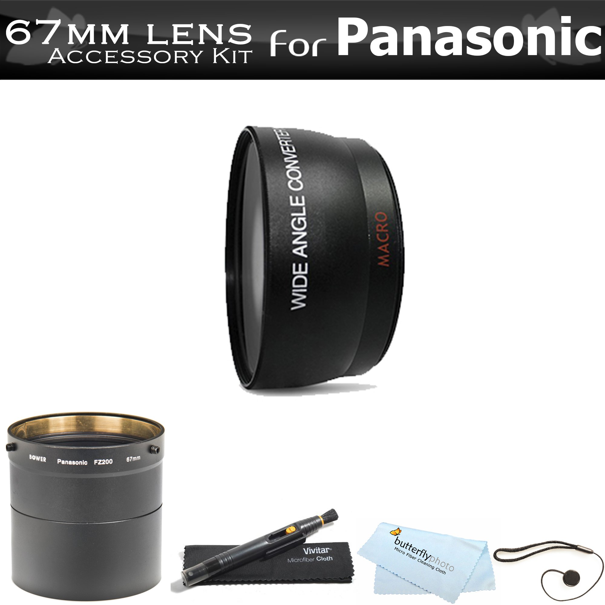 67mm Wide Angle Lens Kit For Panasonic Lumix DMC-FZ200, DMC-FZ200K Digital Camera Includes NecessaryTube Adapter + High Definition .43x Wide Angle Lens W/ Macro + LensPen Cleaning Kit + Lens Cap Keeper + Microfiber Cleaning Cloth