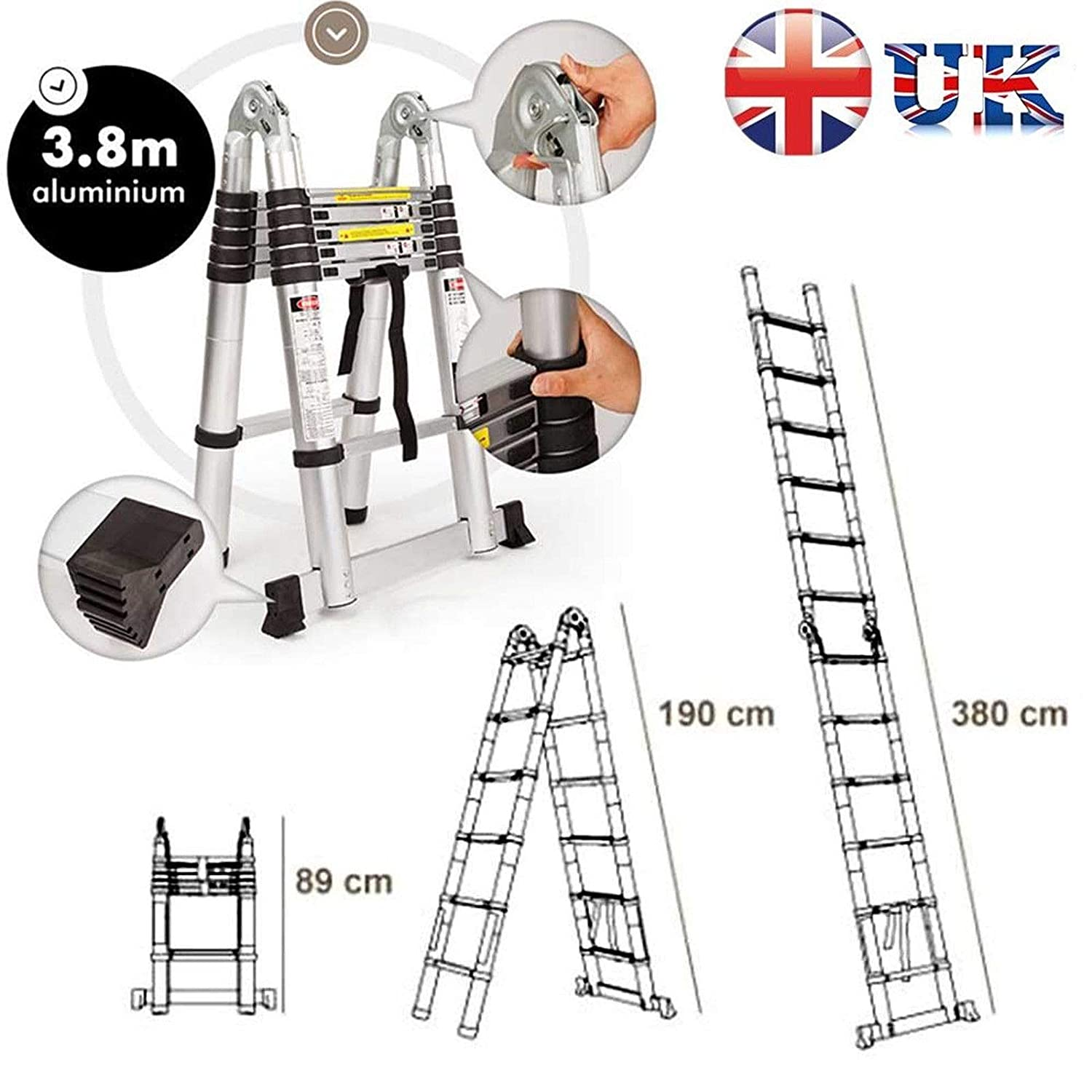 3.8  m (1.9  m + 1.9  m) 3,8  m extension Stand en A É chelle multifonctions É chelle té lescopique UK Stock, 3  ans de garantie 8 m extension Stand en A Échelle multifonctions Échelle télescopique UK Stock Aut