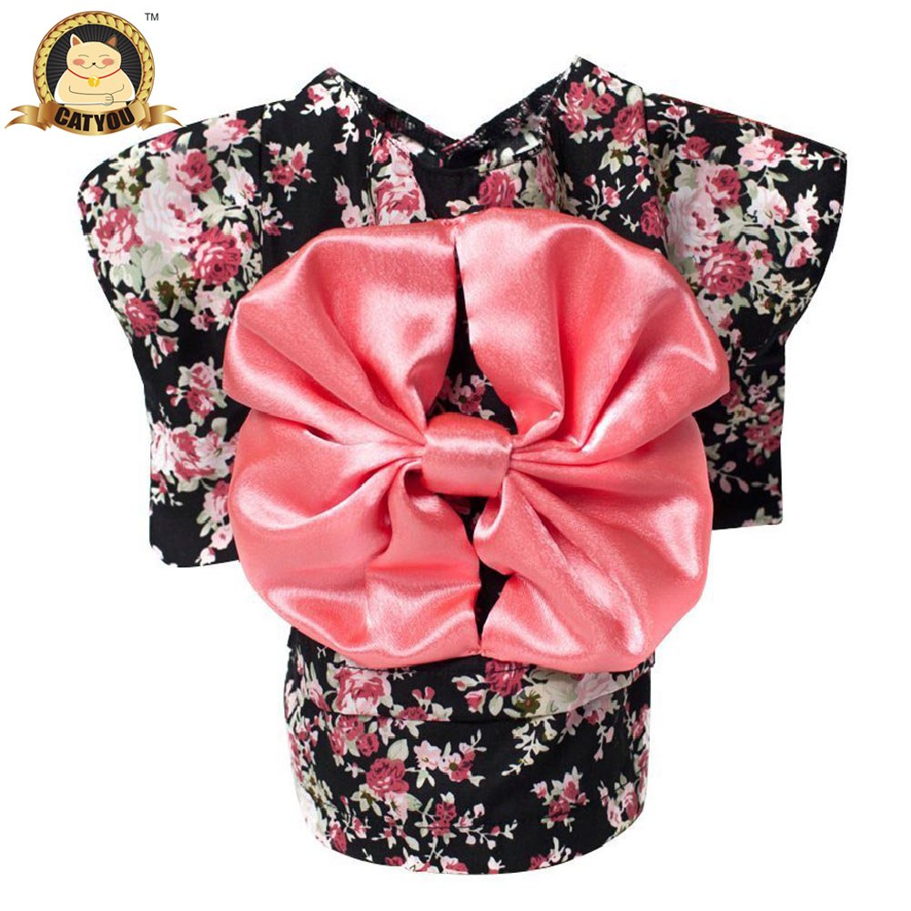 CatYou Pet Dress Up Costume Japanese Kimono With Bowknot Apparel for Dog Cat