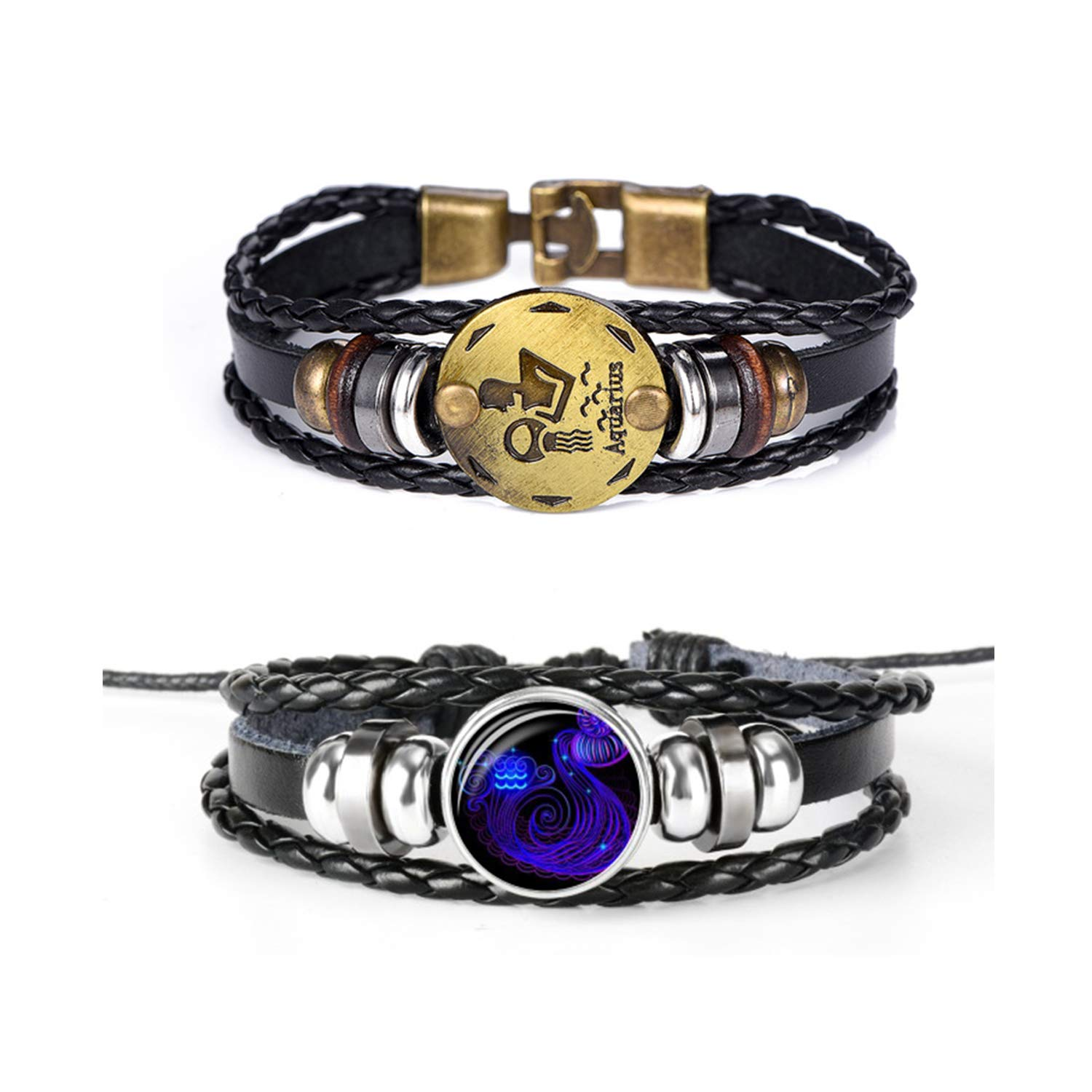 Retro 2pcs 12 Zodiac Constellation Beaded Hand Woven Leather Bracelet Braided Punk Chain Cuff