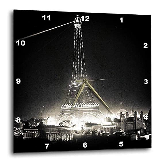 3dRose DPP_77379_1 Eiffel Tower Illuminated Paris Exposition 1900 Black White Wall Clock, 10 by 10