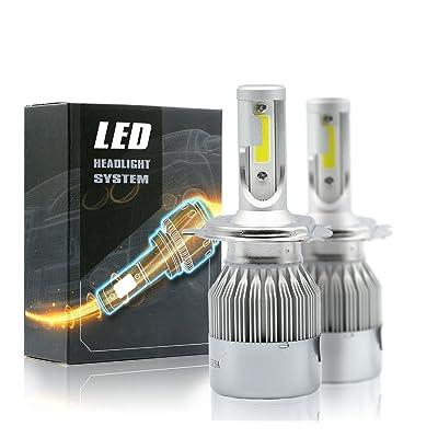 Syneticusa LED High/Low Beam Headlight Conversion Kit Light Bulbs 100W 10000LM 6000K White (H4): Automotive
