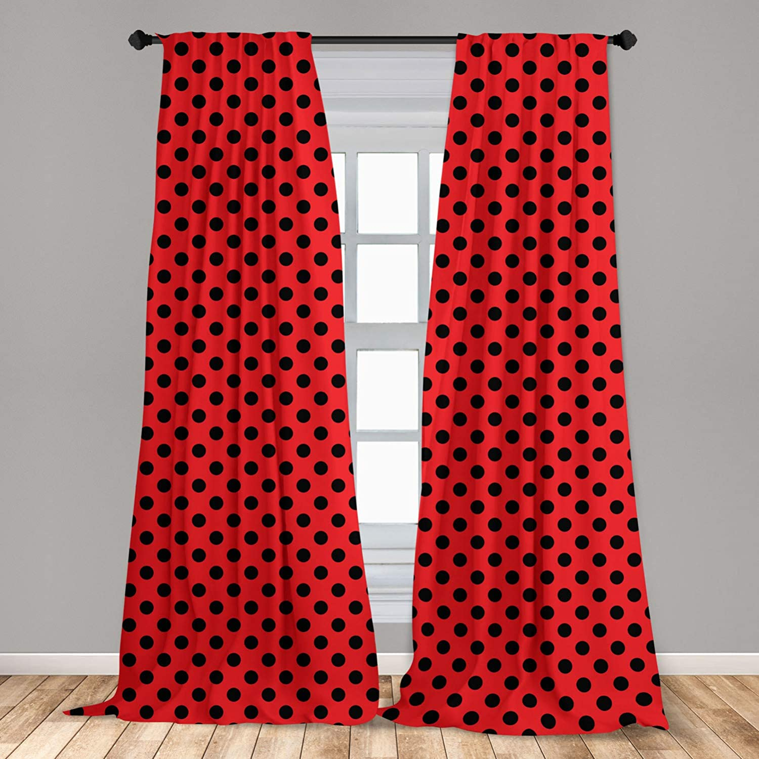 """Ambesonne Red and Black Curtains, Retro Vintage Pop Art Theme Old 60s 50s Rocker Inspired Bold Polka Dots Image, Window Treatments 2 Panel Set for Living Room Bedroom Decor, 56"""" x 63"""", Scarlet"""