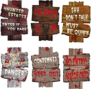 CREATESTAR 6 Pack Halloween Decorations Yard Signs Stakes Beware Props Halloween Outdoor Decor Bloody Scary Zombie Vampire Graves Holiday Supplies