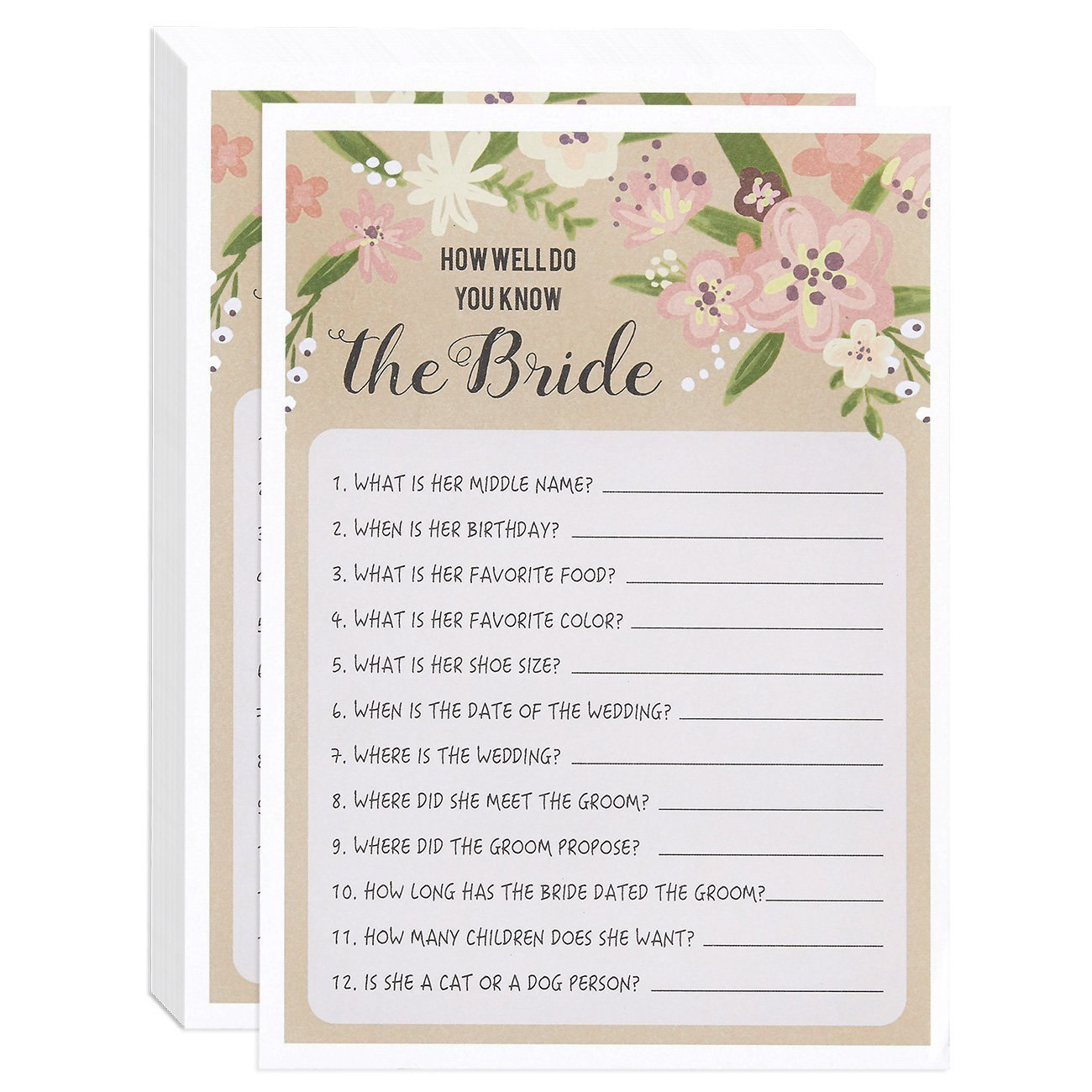6fa197c10c0 Floral Bridal Shower Games - How Well Do You Know The Bride