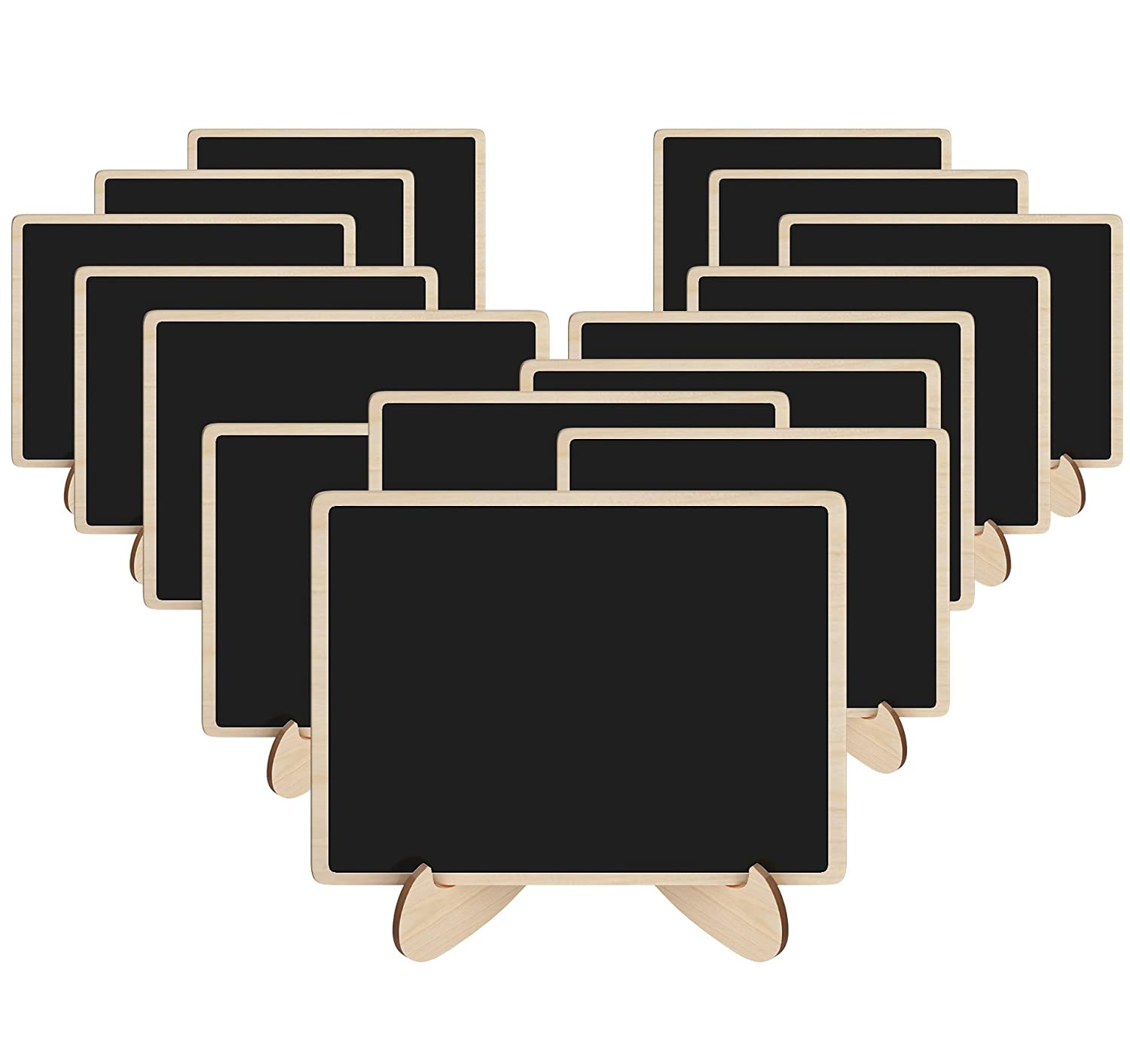 Korlon 15 Pack Mini Chalkboards Signs with Easel Stand, Wood Rectangle Small Chalkboard Signs Place Cards for Weddings, Parties, Table Numbers, Food Signs and Special Event Decoration CLN-024-1