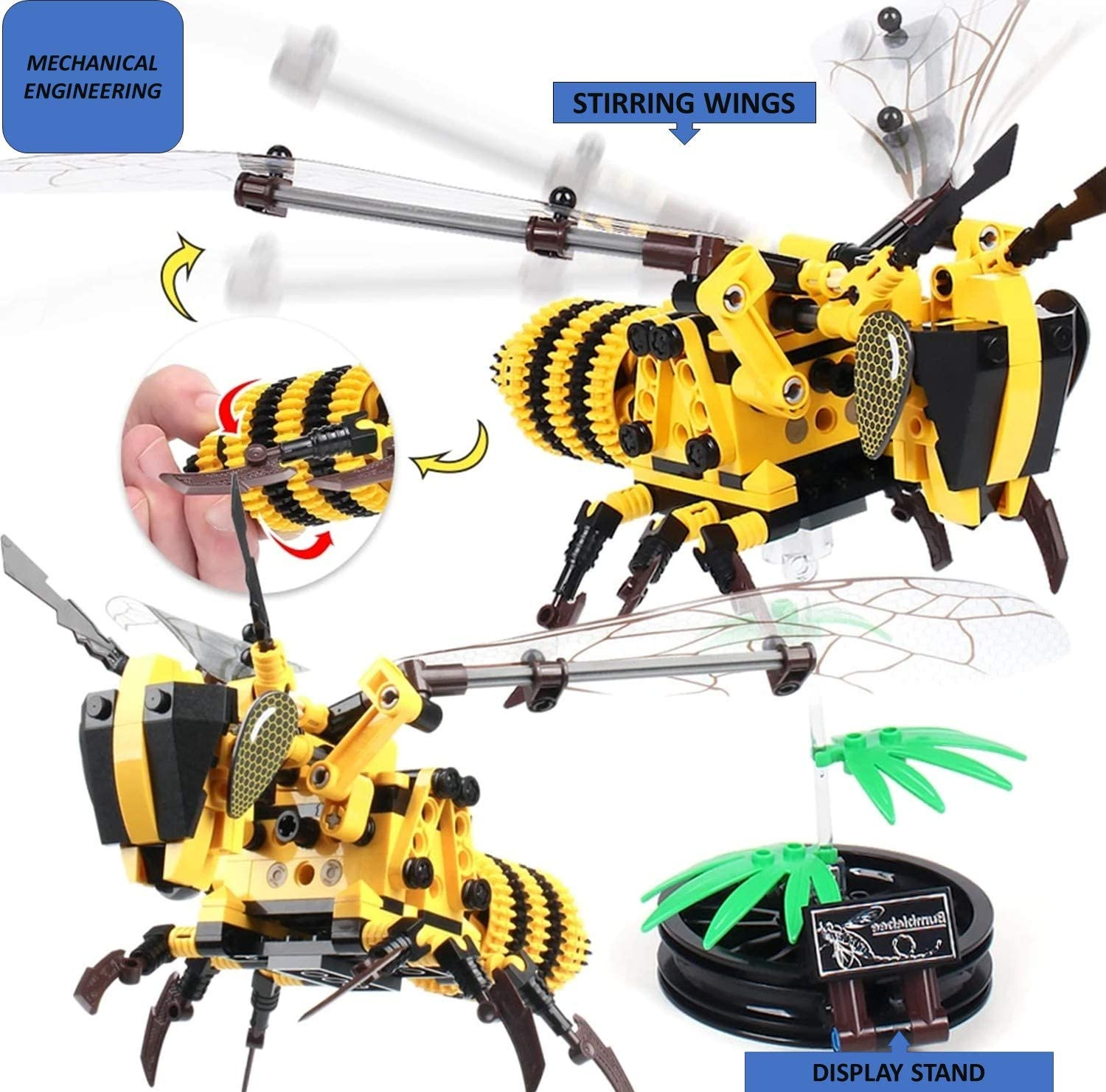 Jigamix STEM Building Toys for 6 Year Old Boys 236 Pcs Technical Honeybee DIY Building Blocks Educational Kit Stem Projects for Kids Ages 5 6 7 8 9 10 11 12