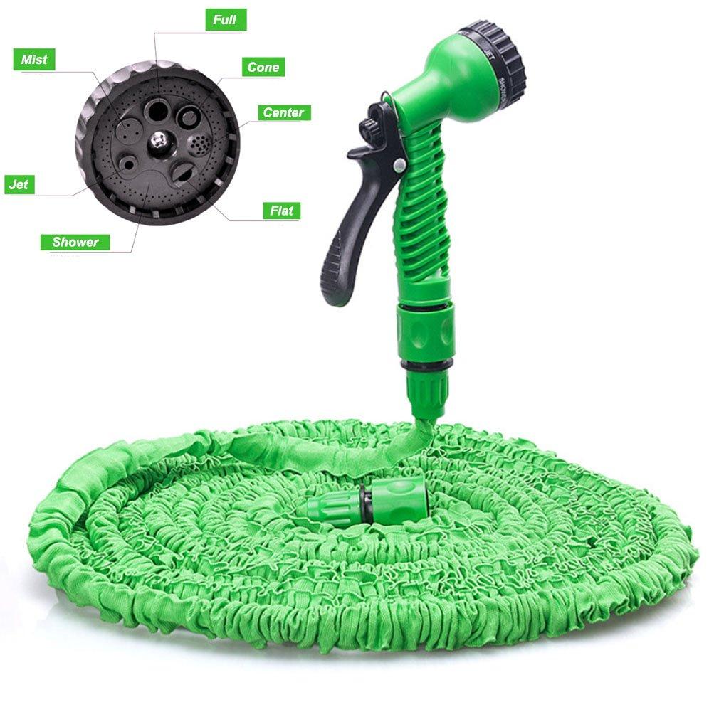 Garden Hose 25FT Lightweight Collapsible Flexible Gardening Water Hose Pipe for Car Washing,Watering Flowers, Pet Bathing (25FT, Green)