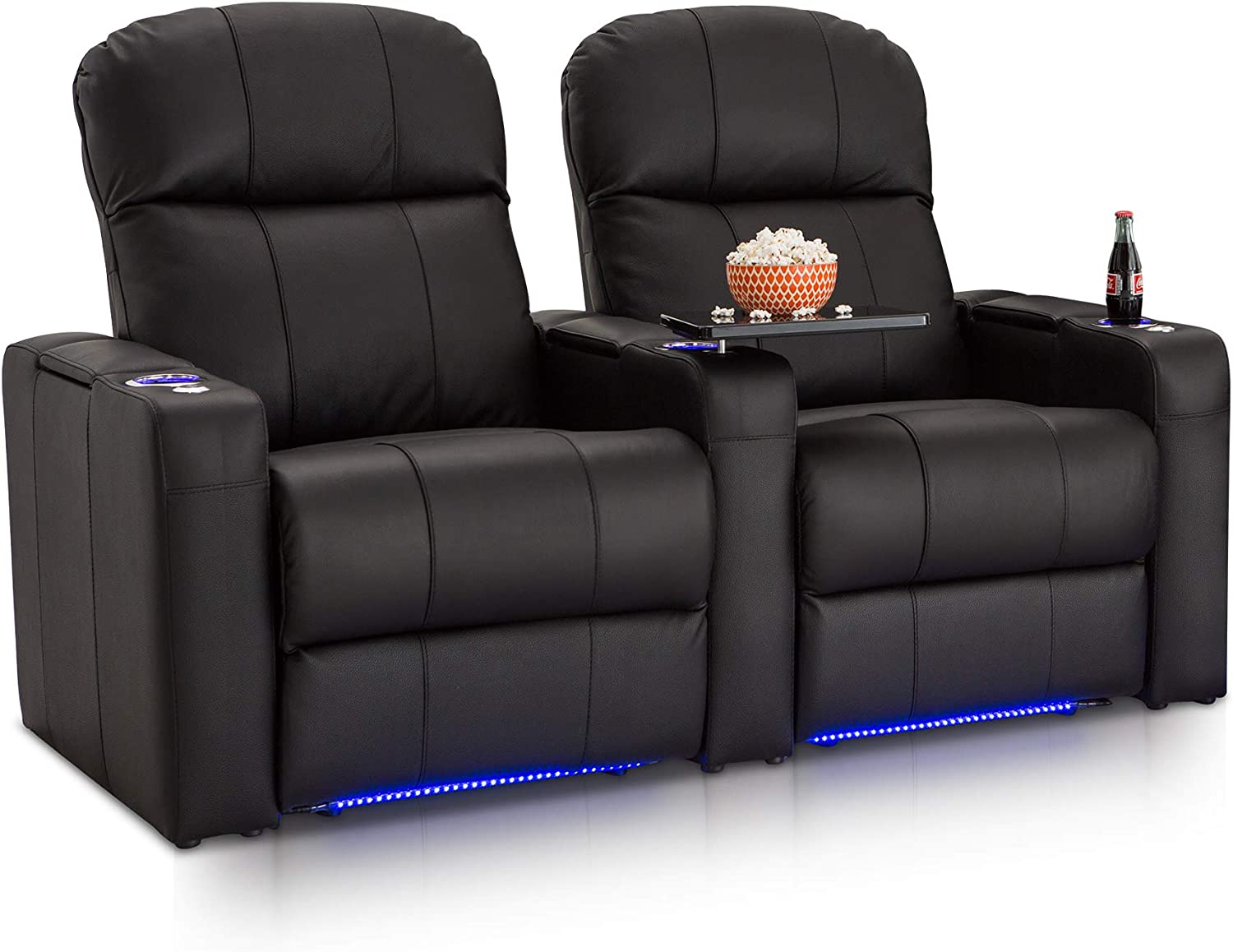 Seatcraft Venetian Black Bonded Leather Home Theater Seating – Row of 2 Seats – Manual Recline