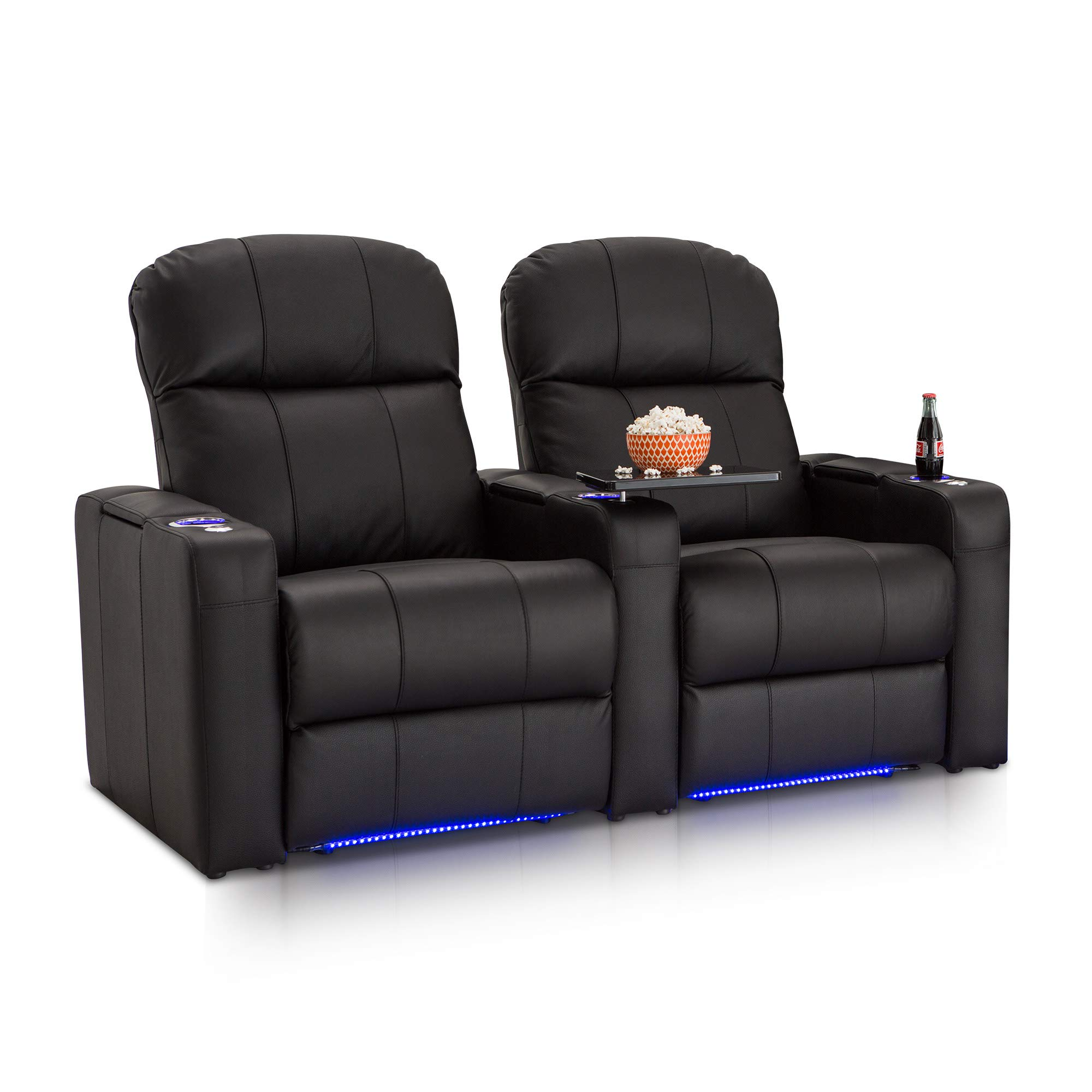 Seatcraft Venetian Black Bonded Leather Home Theater Seating - Row of 2 Seats - Manual Recline by Seatcraft