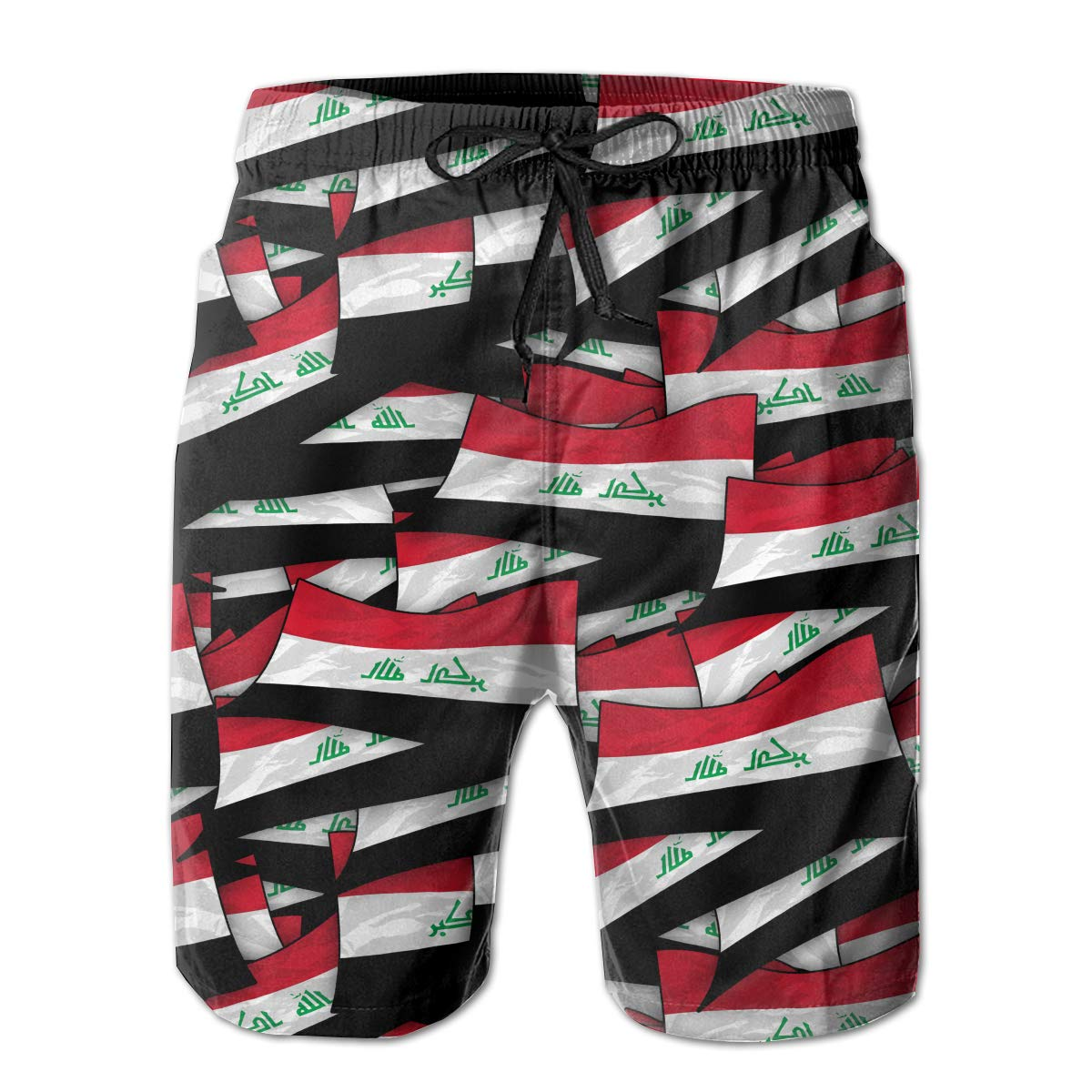 Mens Swim Trunks Iraq Flag Wave Collage Quick Dry Beach Board Shorts with Mesh Lining