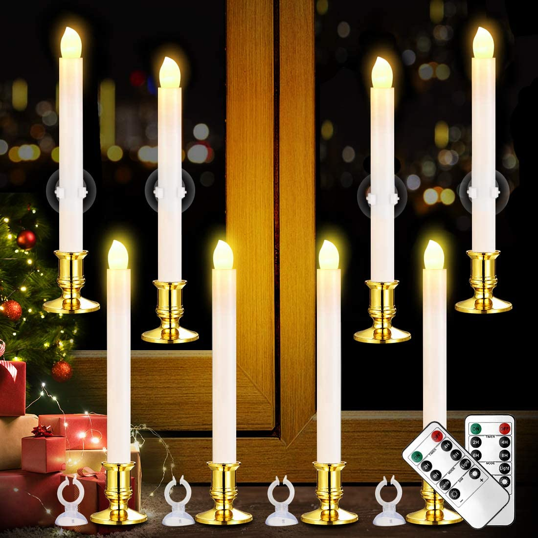 Candles Holders Christmas Window Candles Lights 8 Pack Battery Operated Flameless Taper Candles With Remote Control And Timer Removable Silver Holder Suction Cup For Seasonal Festival Celebration Warm White Home Musol Com Mx