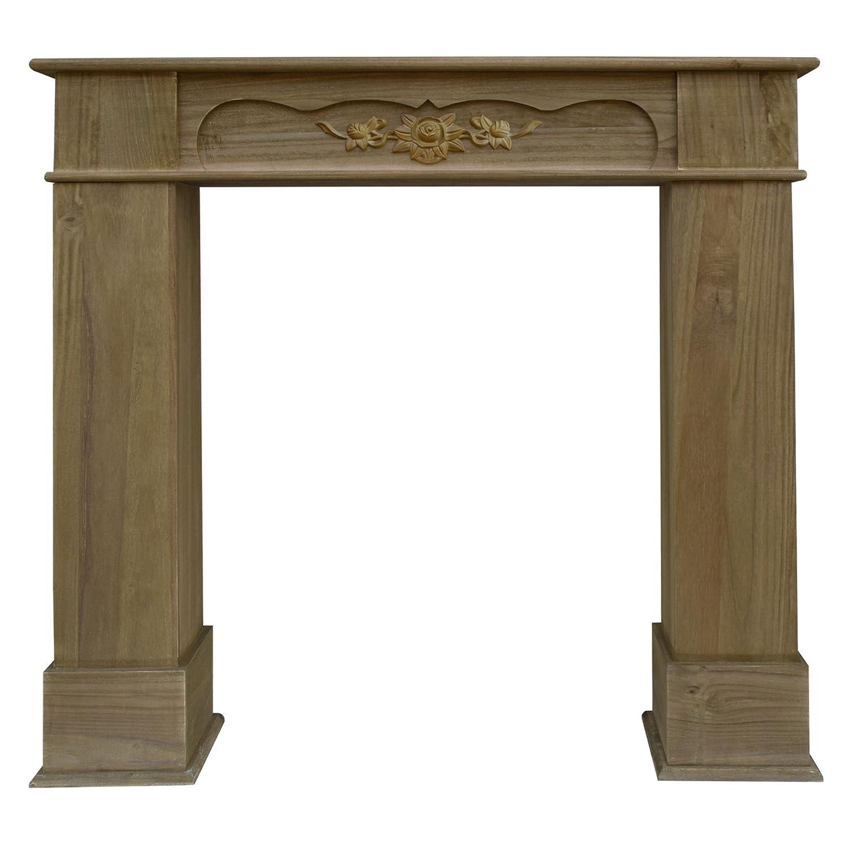 Rebecca Mobili  Mobile CA® Dekorativer Kaminrahmen aus Holz, klassischer Stil, Braun, Wohnzimmer (RE4504)