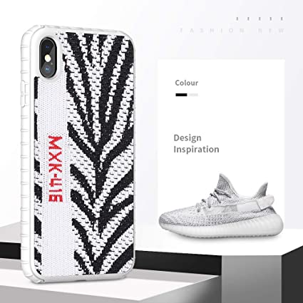 Fashion Yeezy Case For Iphone Xs Max Hard Pc Yeezy 350 Sneakers Material Shock Absorbing Protective Sport Cover For Iphone 6 5 Inch Zebra White