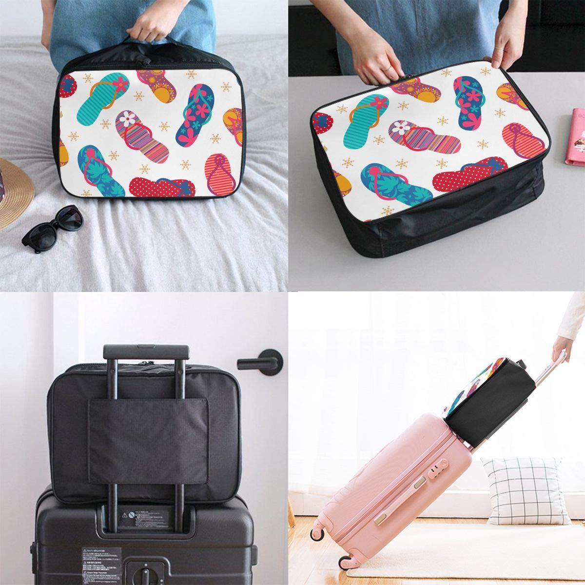 Vacation Hiking Hand Bag In Trolley Handle Travel Duffle Bag Cool Flip Flops Slippers Weekender Bag Waterproof Foldable Nylon Luggage Duffel Bag For Sports Gym