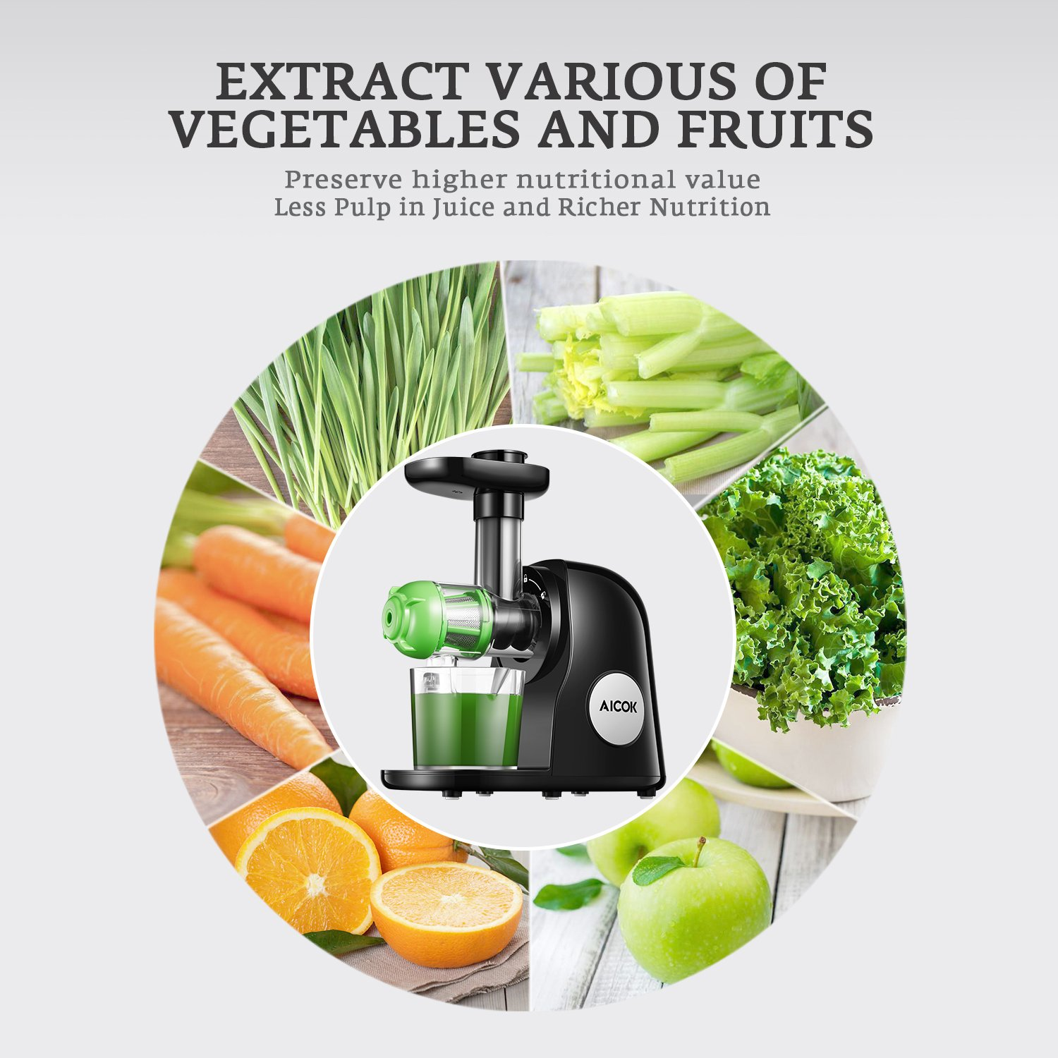 Juicer Masticating Slow Juicer Extractor, Aicok Juice Quiet Motor & Reverse Function, BPA Free, Cold Press Juicer Easy to Clean with Brush, Juice Machine Recipes for Vegetables and Fruits by AICOK (Image #5)