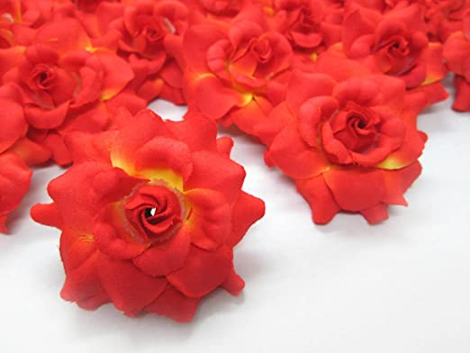 Amazon Com 24 Silk Orange Roses Flower Head 1 75