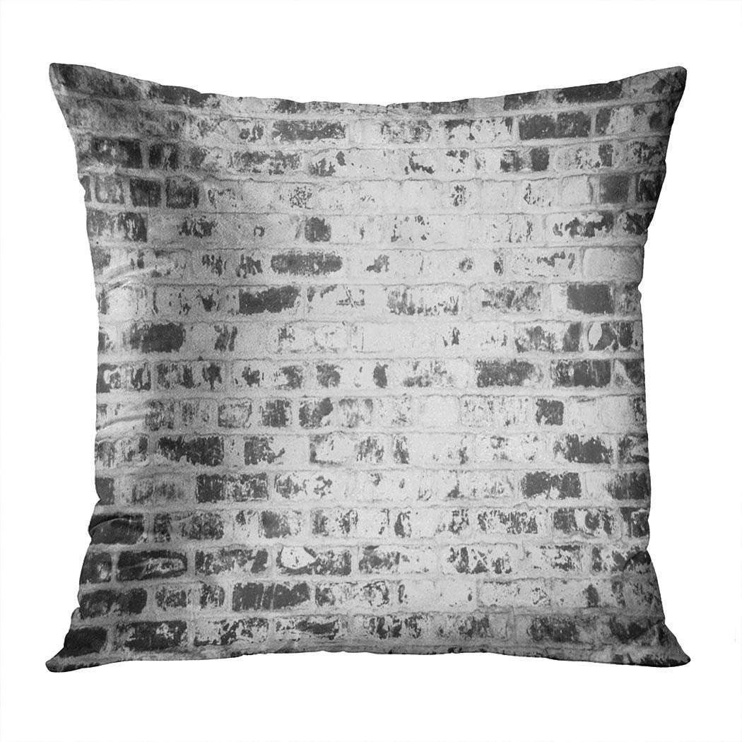 Houlor Throw Pillow Cover Print Old Cracked Brick Wall Black White Haunted Old 1930'S Brick Pillowcase Living Room Bedroom Dorm Car Hidden Zipper Home Decor Home Style Cushion Case 18 X 18 Inches