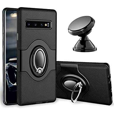 eSamcore Samsung Galaxy S10 Plus Case Ring Holder Kickstand Cases + Dashboard Magnetic Phone Car Mount [Black]: Electronics