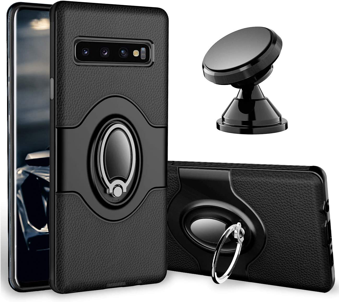 eSamcore Samsung Galaxy S10 Plus Case Ring Holder Kickstand Cases Dashboard Magnetic Phone Car Mount Navy Blue