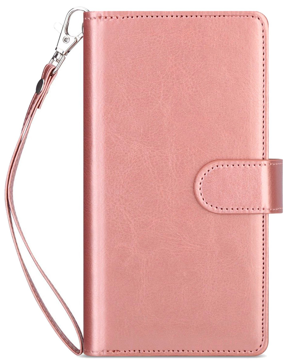 iPhone 6 Plus Case, iPhone 6S Plus Wallet Case,Dailylux Premium PU Leather+TPU Inner Shell Flip Case with 9 Card Slot Holder Shockproof Cover for iPhone 6/6s Plus 5.5 inch-Rose Gold Flower