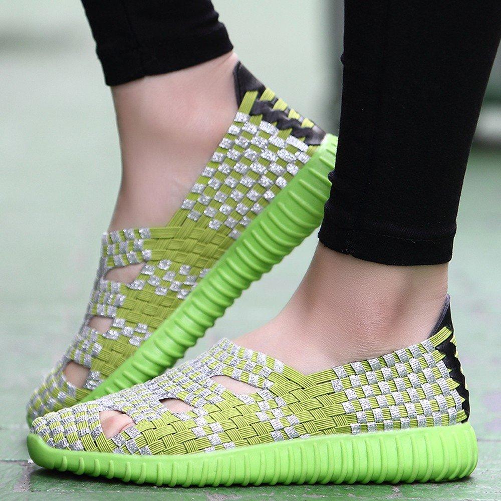 Clearance Sale Shoes For Women ,Farjing Fashion Women Flats Shoes Woven Shoes Casual Running Shoes Non Slip Shoes (US:6.5,Green) by Farjing (Image #2)