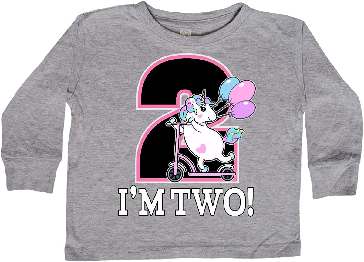 inktastic 2nd Birthday Unicorn 2 Year Old Girl Toddler Long Sleeve T-Shirt