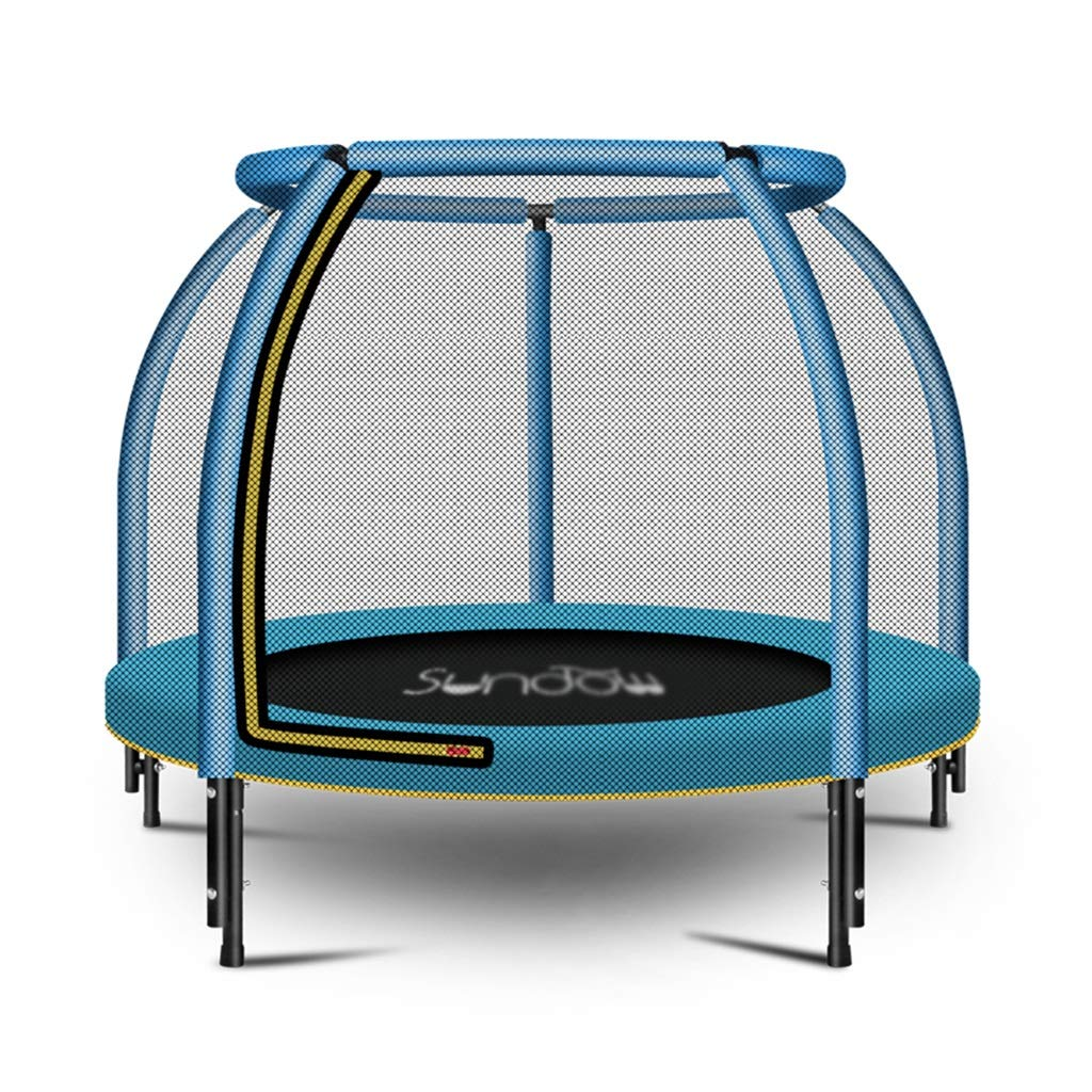Indoortrampoline Trampolin Home Kinder-Sprungbett für Kinder Kinder Erwachsene mit Netzen Familienspringbett Geschenk für Kinder (Farbe : Blau, Größe : 120x120x100cm)