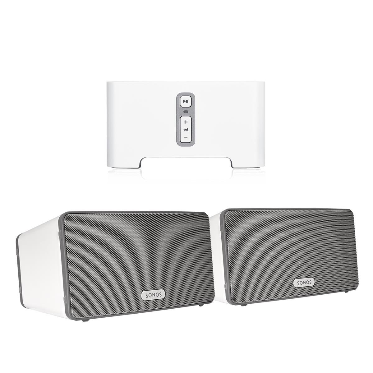Sonos CONNECT Wireless Receiver for Streaming Music Bundle & Sonos PLAY:3 Wireless Speaker, Pair - White by Sonos