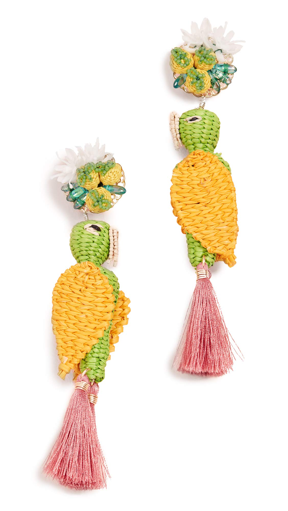 Mercedes Salazar Women's Tropical Bird Earrings, Green/Yellow, One Size
