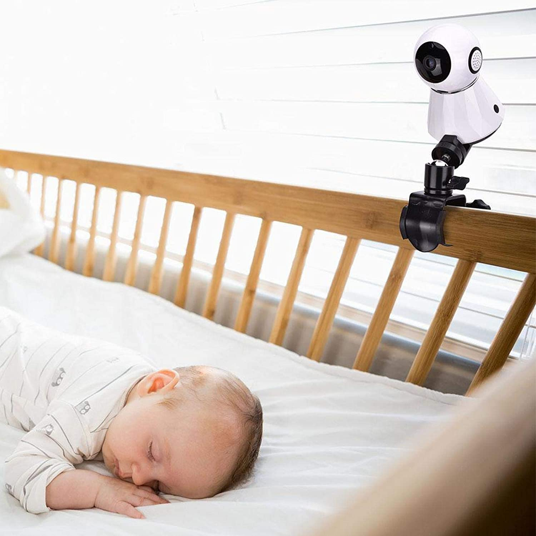 regolazione a 360 gradi visione notturna per monitoraggio video per neonati mensola per baby monitor Staffa per videocamera per bambini design con rotazione della sfera in acciaio inossidabile