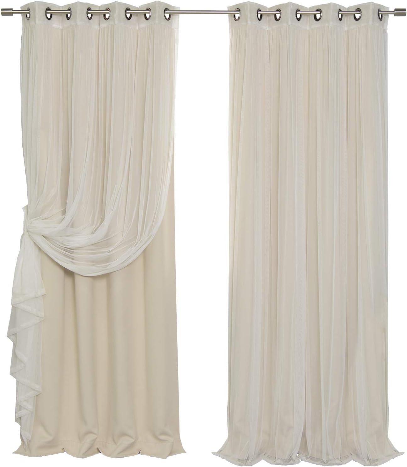 Best Home Fashion uMIXm Tulle Sheer Lace & Blackout 4 Piece Curtain Set - Antique Bronze Grommet Top - Beige - 52