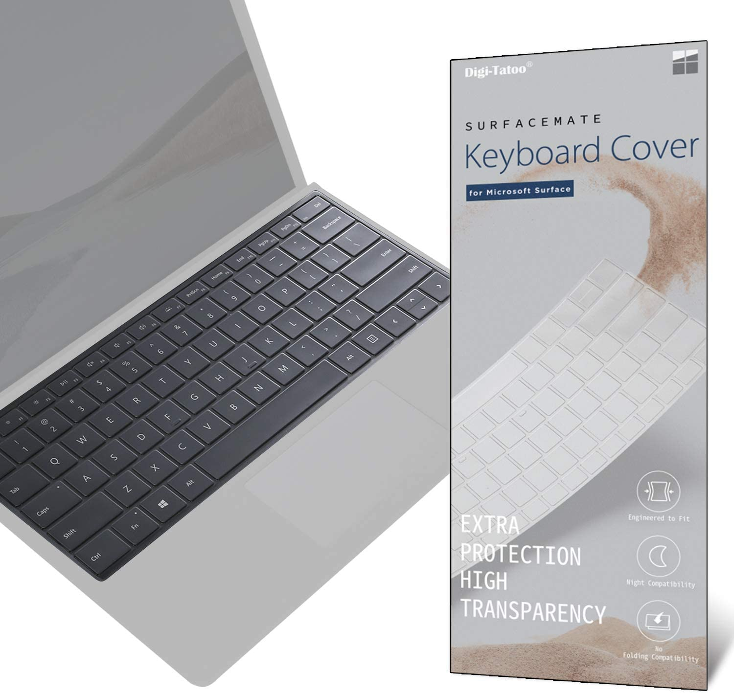 Digi-Tatoo SurfaceMate Keyboard Cover Protector Skin for Microsoft Surface Pro X/Pro 7/ Pro 6/ Pro 5/ Pro 4, Premium Ultra Thin 0.18mm, High Transparency, US Keyboard Layout