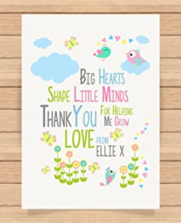 Personalised Presents Gifts For Nursery Teachers End Of Term Birthday Christmas Xmas Big Hearts Thank You