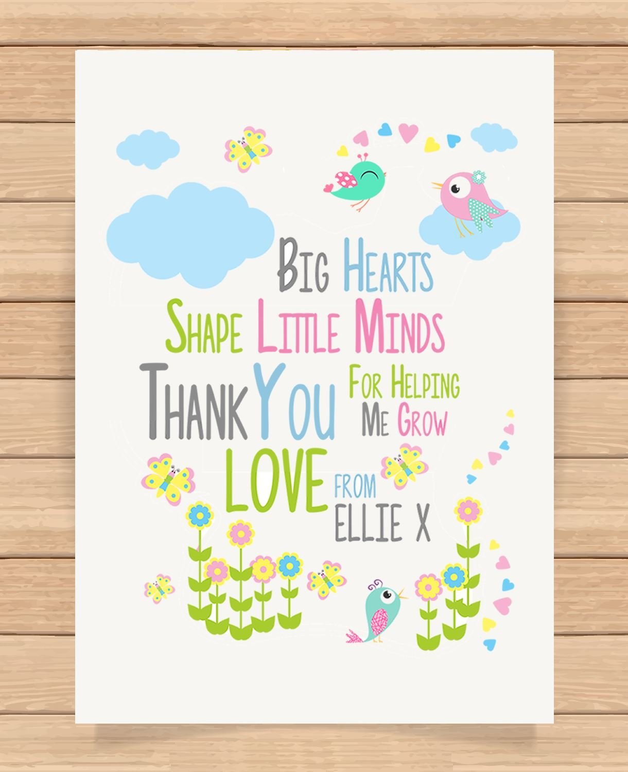 Personalised Presents Gifts For Nursery Teachers End Of Term Birthday Christmas Xmas Big Hearts Thank You Poem Prints Posters Wall Art Unusual Special