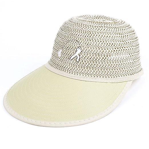 Fishing Stripes Braided Ribbon Back Khaki Sun Visor Hat Cap Decor for Man