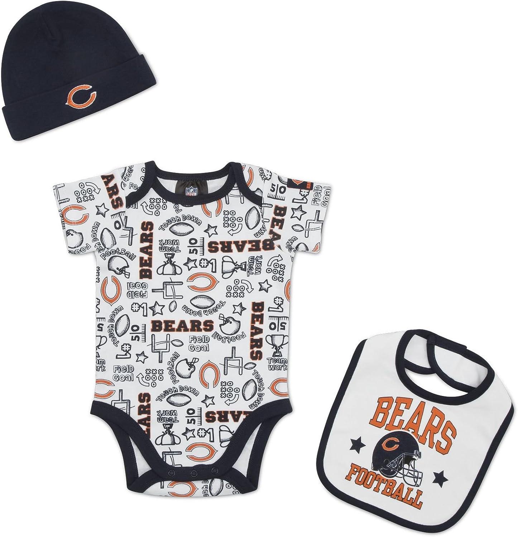 Cap Hat NEW Chicago Bears NFL Team Apparel 3 Piece Set Baby Bib /& Booties