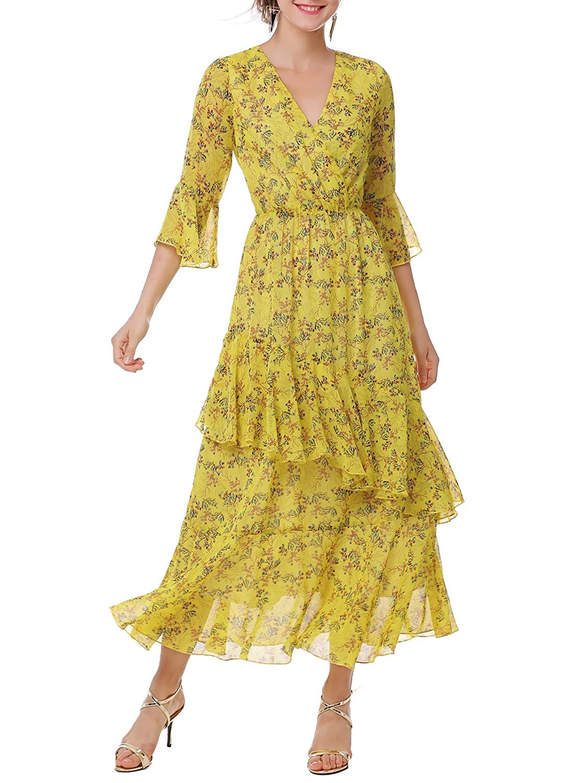 1b2278e7a42 Amazon.com  Ranphee Womens Floral Maxi Dress-Yellow V Neck High Waist Long  Chiffon Beach Summer Dresses