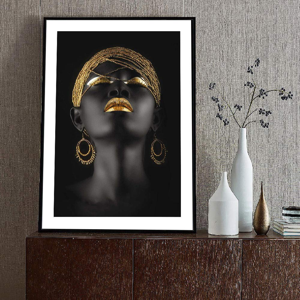 WJY Goldene Ohrringe Schwarz M/ädchen Leinwand Gem/älde Auf Der Wand Kunstdrucke Afrikanische Frauen Leinwand Kunstdrucke Wandbild F/ür Wohnzimmer Room 60cm x90cm Kein Rahmen