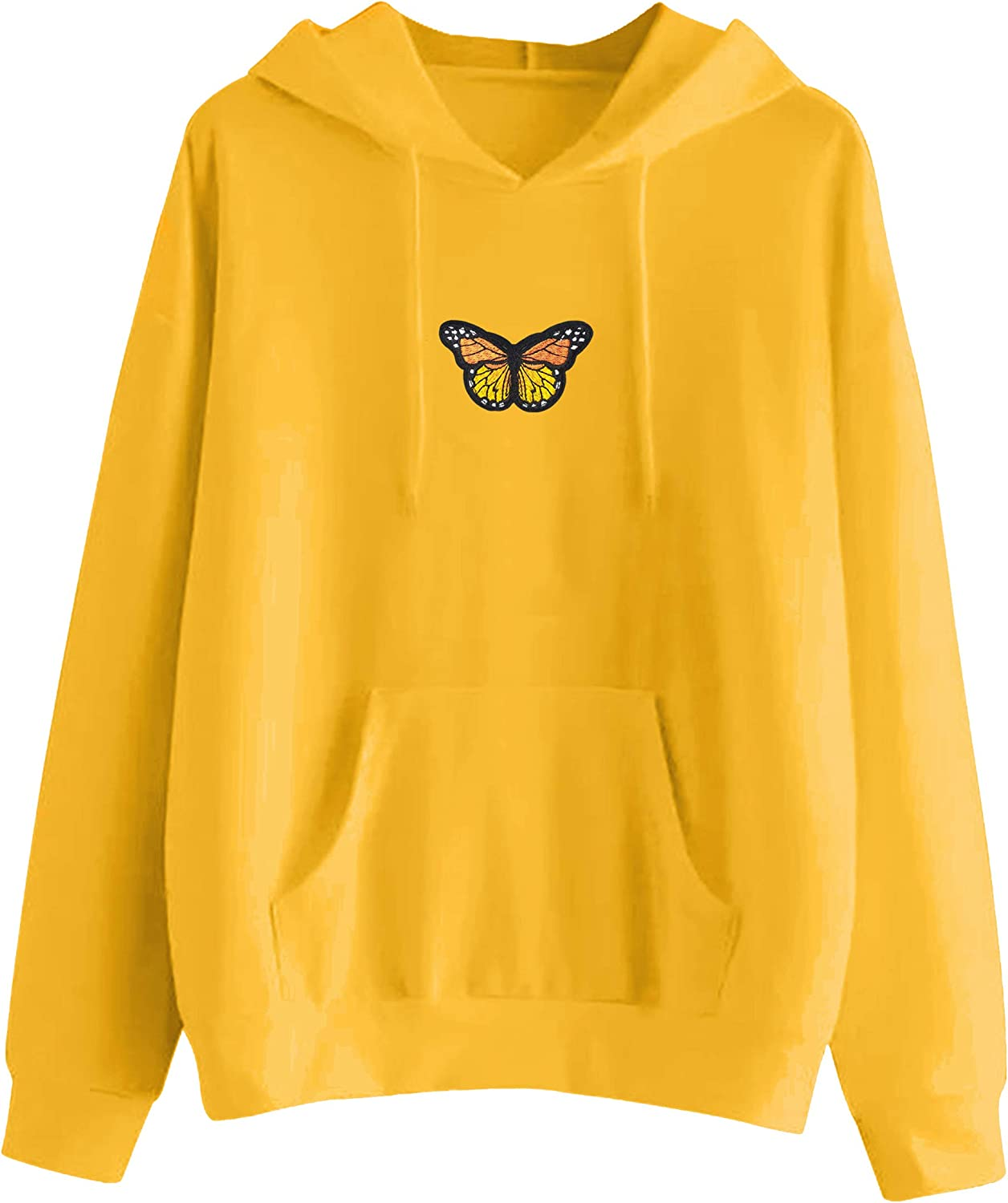 MISSACTIVER Women's Butterfly Patchwork Pocket Casual Pullover Hooded Sweatshirt