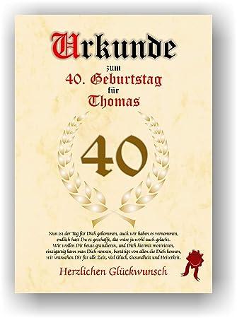 Urkunde Zum 40 Geburtstag Gluckwunsch Geschenkurkunde