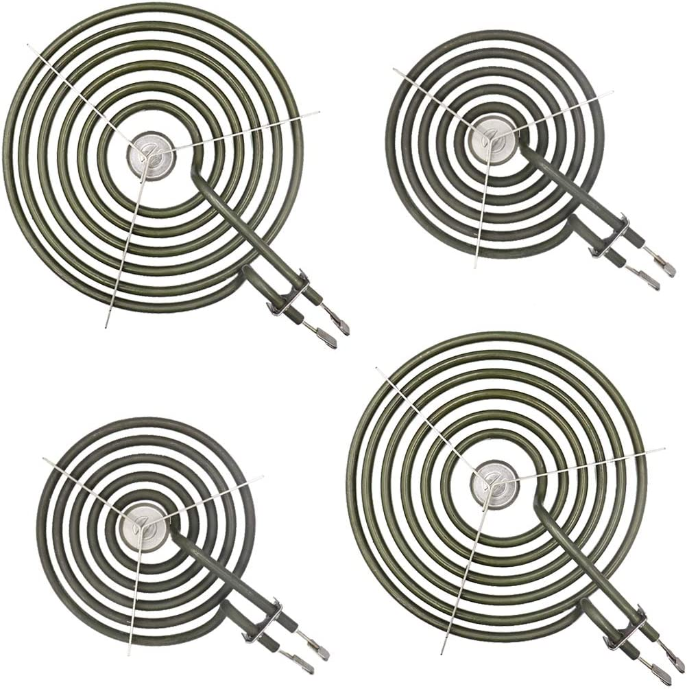 "4 Pack 2 WB30M1 (6"") and 2 WB30M2 (8"") Range Stove Top Surface Element Burner Unit Set, Replacement kit for GE Kenmore Whirlpool Hotpoint"