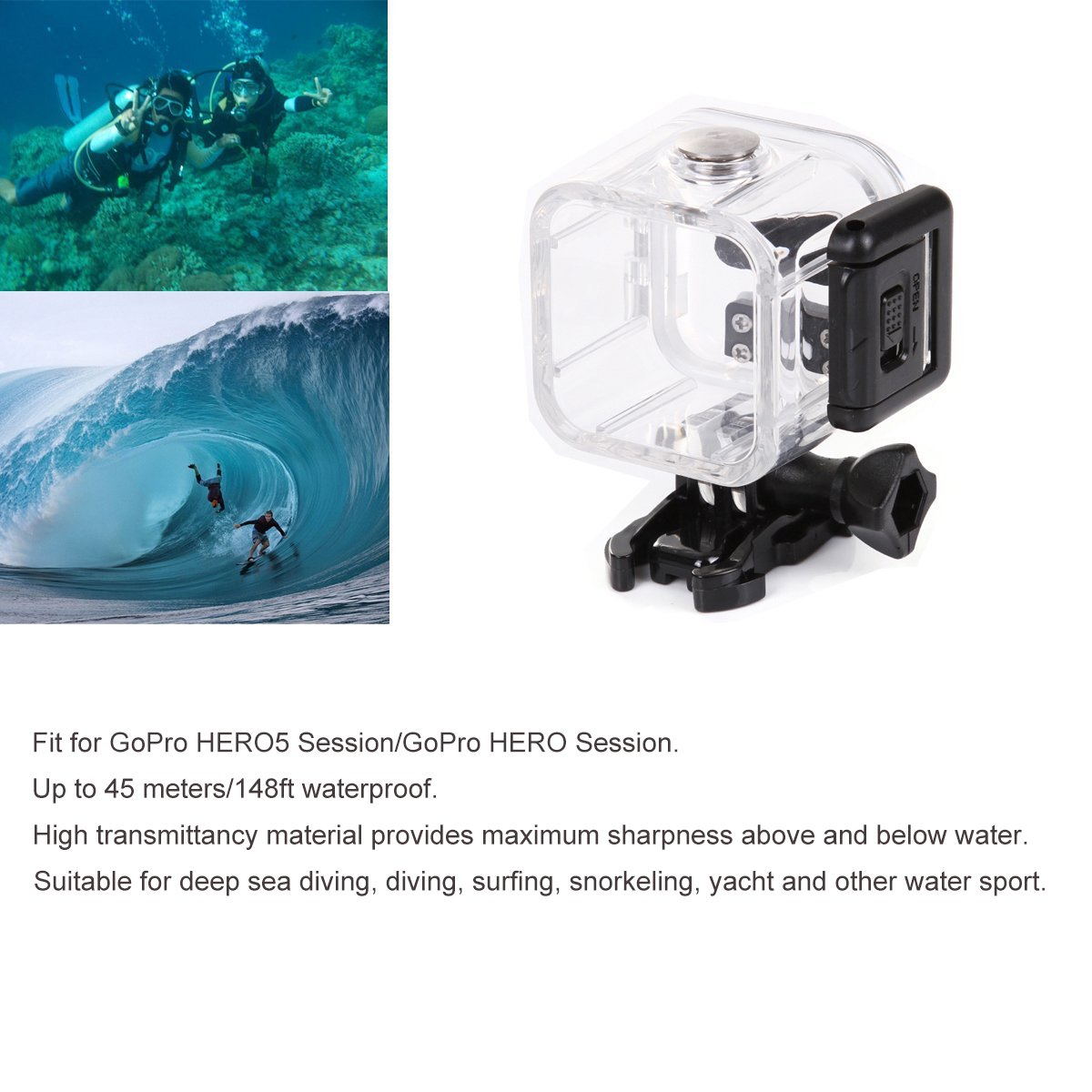 Kupton Accesorios para GoPro Hero 5 Session Videocámara de Acción Carcasa Impermeable Arnés de Pecho Sujección de Cabeza Soporte Clip de Mochila Coche ...