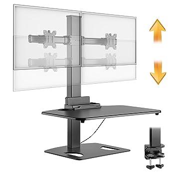 RICOO Doble Soporte Monitor de Mesa Escritorio para 2 Pantallas PC de Ordenador TS0311 con repisa para teclada Brazo Colgante Inclinable y Giratorio ...