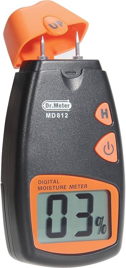 el madera de ambiente los chapes pila incluida MD 912 el hormig/ón y los otros materiales de construcci/ón Dr.Meter Medidor de humedad digital 2-Pin Sensor para las paredes