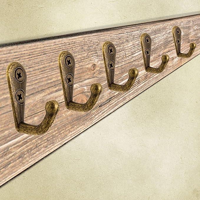 fuxxer® – Antiguo gancho de toallas de mano   – Perchero con ganchos de ropa, hierro fundido de latón bronce   Landhaus Vintage Retro de diseño, 20 ...