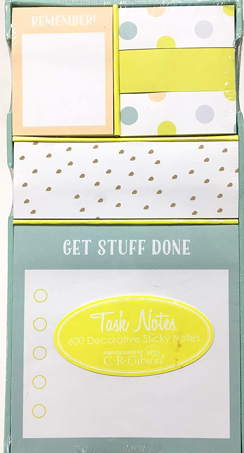 CR Gibson Get Stuff Done 600 Decorative Sticky Notes in Box