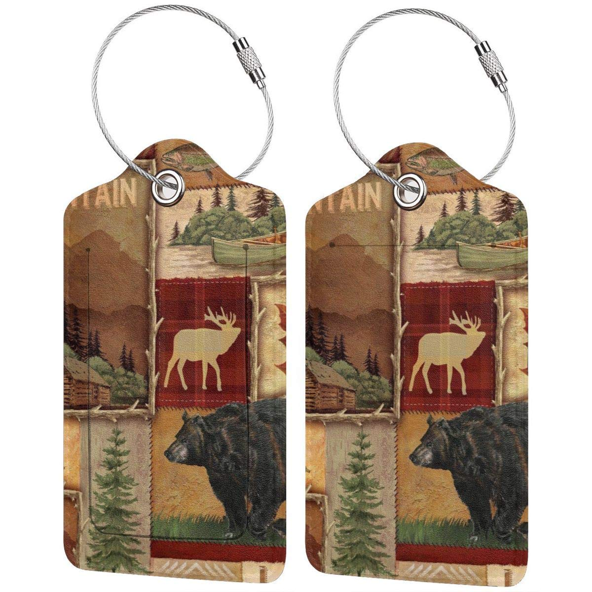 Leather Luggage Tag Rustic Lodge Bear Moose Mountain Lake Luggage Tags For Suitcase Travel Lover Gifts For Men Women 2 PCS