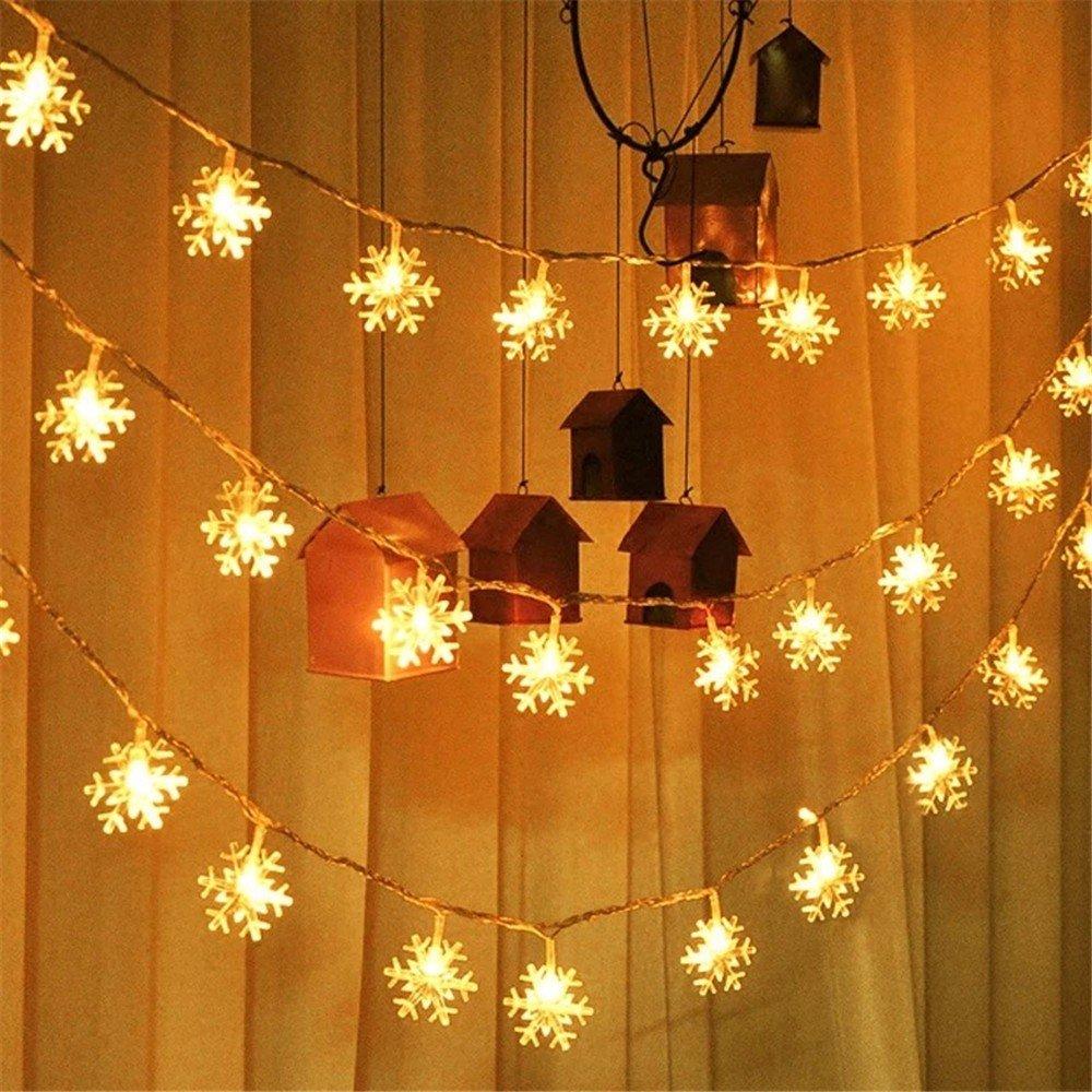 MMLsure LED lichterkette,Batterie Schneeflocke Licht Zeichenfolge,LED Light Chain aussen bunt mit Lichtern für Innen und Außen Deko wie Weihnachten, Party, Garten, Hochzeit (WH, M/50er) MMLsure®