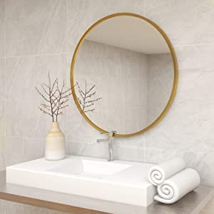 QLMUSE Round Mirrors for Wall Decor with Metal Frame Decorative Circle Mirror for Vanity Bathroom Entryways Living Room Bedroom Wall Mounted (19.7in, Gold)